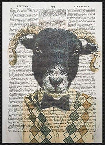 Parksmoonprints Affiche de dictionnaire vintage Motif mouton