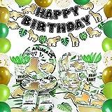 Forniture per Feste Giungla Safari - Della Giungla Decorazioni di Festa Compleanno per Bambini Banner Palloncini Piatti Tovaglioli Posate Sacchetti di posate Stoviglie Tavola Serve 16 Ospiti 153 PCS
