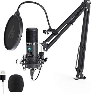 Microphone USB avec sourdine à une touche MAONO PM421 Microphone podomètre à condensateur cardioïde professionnel 192KHZ/2...