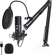 USB Microphone with One-Touch Mute and Mic Gain Knob MAONO AU-PM421 Professional Cardioid Condenser Podcast Mic for Online Teaching, Meeting, Livestreaming, Gaming, Broadcasting