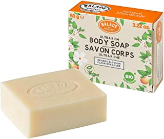 Balade En Provence Handmade Organic Body Soap Bar, Orange Flower - Nourishing Shea Butter Formula for Soothing Skin Protection, Zero Waste, No Sulfates, Vegan Certified, 3.22 oz (3.22 Ounce)