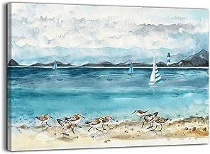 Bathroom Decor Beach Wall Art Ocean Lighthouse Seabird Paintings Artwork for Walls Beach Theme Decor Picture Prints Modern...