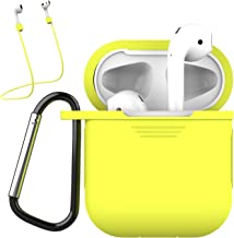 Bqmte Case Compatible for Airpods with Keychain Strap Accessories, Full Protective Airpods Silicone Cover Skin for AirPods 2 & 1 [Front LED Not Visible] (Yellow)
