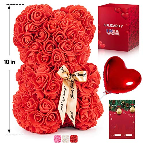 """Rose Bear Teddy with Ribbon – 10"""" Flower Bear with 300+ Artificial Roses – Gift Boxed for Her with Balloon and Customizable Greeting Card for Christmas, Valentines Day, Anniversary and Birthday"""