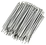 WUNDERGARDEN Set of 100 Galvanized Steel Fixing Stakes for Weed Control Tarpaulin - 150x25mm - Ø2.7mm