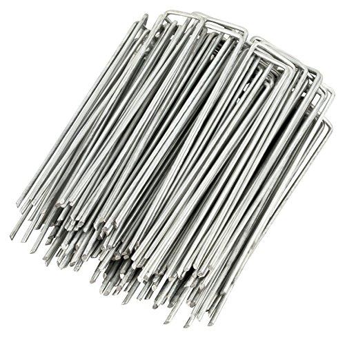WUNDERGARDEN Lot de 100 piquets de Fixation en Acier galvanisé pour bâche Anti-Mauvaises Herbes - 150x25mm - Ø2,7mm