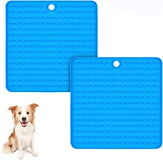 Pet Lick Mat Slow Feeder Dog Mat, Relax Anxious Animals, Slow Feed Dog Bowl Alternative, Perfect for Dogs and Cats to Serve Treats, Yogurt Or Peanut Butter (Blue)