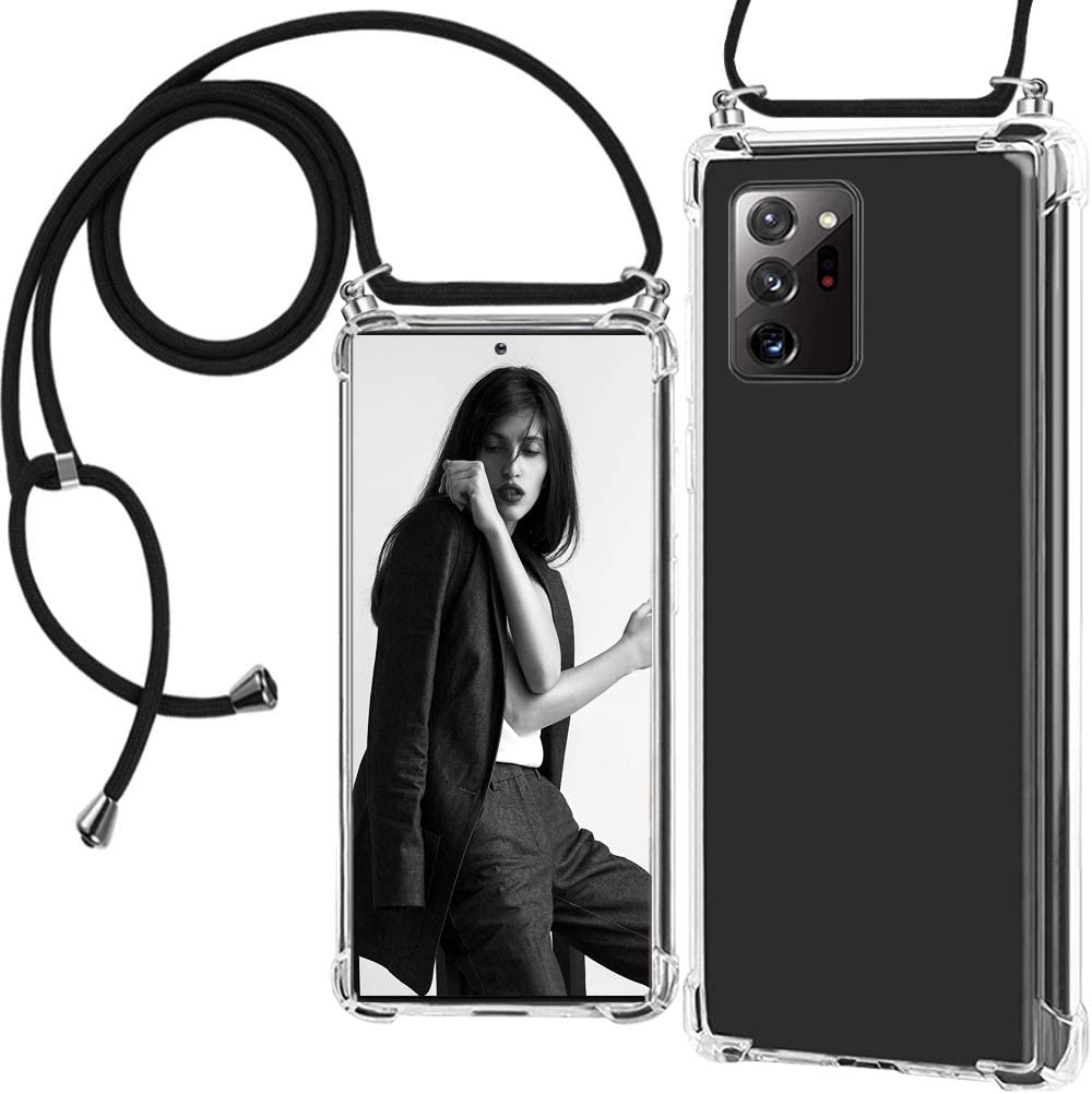 Note 20 Ultra 5G Phone Case Cover Clear Slim Lanyard Crossbody Case Compatible with Samsung Galaxy Note 20 Ultra Case Transparent Ultra-Slim Silicone Rubber Gel Waterproof Case with Neck Strap Women