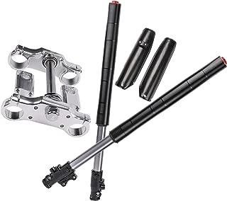 TDPRO Complete 45mm/48mm Upside Down Front Fork Shocker and Triple Clamp Handlebar Riser set for Dirt Pit Pro Trail Bike 110cc 125cc 150cc (Black 700mm)