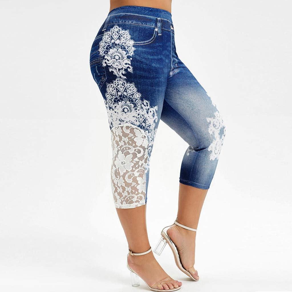 Women's Three Quarter Pants Stretch Imitation Jeans Leggings Plus Size Lace Side Printing Elastic Waist Casual Pants