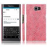 JDDRCASE Handy Zubehör Hüllen, BlackBerry Priv Hülle, Luxus Klassisches Krokodil-Hautmuster [Ultra Slim] PU-Leder Anti-Kratzer PC Schutzhülle für BlackBerry PRIV (Farbe : Rosa)