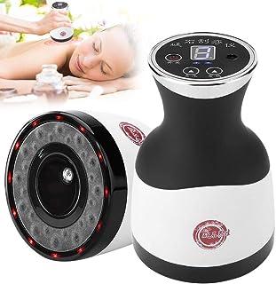 3 en 1 masajeador eléctrico de raspado, ventosas, compresa caliente del cuerpo de la circulación sanguínea herramienta con presión negativa de la piedra(luz LED)