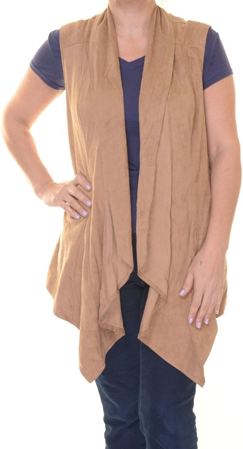 Vakko INC.Womens Faux Suede Draped Casual Vest, Camel, XL