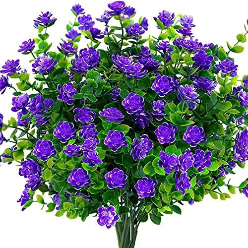 YYHMKB Flor Artificial Flores Artificiales al Aire Libre 4 Paquetes de Flores de imitación Resistentes a los Rayos UV Interior Exterior Maceta Colgante hogar Cocina púrpura