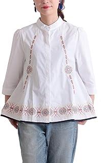 [サワ アラモード] 刺繍 パイピング Aライン コットン シャツ レディース