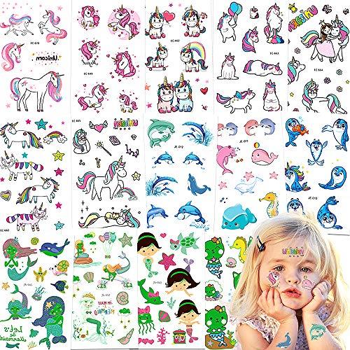 Tattoo Kinder,Jusduit Einhorn Tattoos Set 14 Blätter Meerjungfrau Delfin Einhorn Wasserdichte Kindertattoos Temporäre Tattoos Kinder Aufkleber für Mädchen Kindergeburtstag Mitgebsel Party