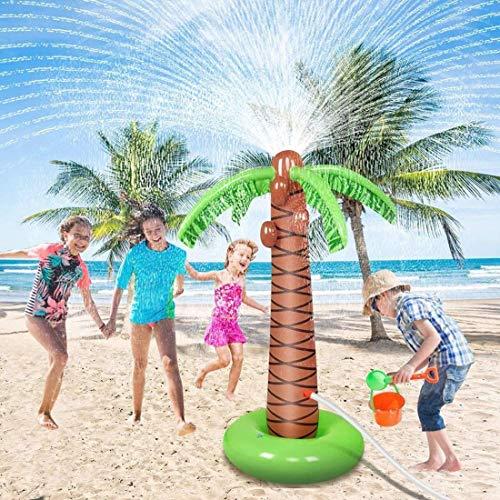 AMINSHAP Rociadores Splash Pad & Play Mat, Juguetes de rociadores de Agua para niños, Juguetes al Aire Libre Palmeras inflables, Juegos de Agua Traseros de 2-12 años