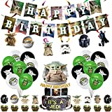 FANDE Juego de Decoración de Fiesta de Cumpleaños, Sombrero de Copa para Tarta de Star Wars con Tema BabyYoda, Decoración de La Casa de Fiesta Decoración de Cupcakes, Set de Globos Decorativos