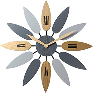 Haoun Unique Wall Clock Large Decorative Quiet Clocks no Ticking Noise Leave Shape Vintage Wood Clock 20 1/2 Inch
