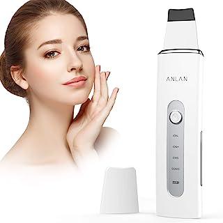 Ultraschallpeelinggerät ANLAN Skin Scrubber Ultraschall Peeling Porenreiniger Hautreiniger Akne Entferner Ionen EMS Massage mit Silikonhülle, für Gesichtsreinigung GesichtspflegeWeiß