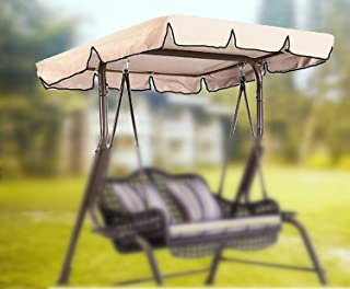 boyspringg Upgraded Outdoor Swing Canopy Replacement Patio Furniture Cover 600D 75x52 inches 3 Seater Oxford Waterproof Top Cover UV Block Sun Shade for Outdoor Porch Swing Chair Garden Hammock Beige