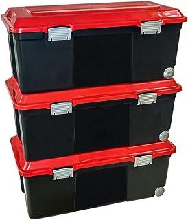 Sundis 77682025 Lot de 3 Malles de Rangement Camper avec Roues, Plastique, Noir/Rouge, 3x75L