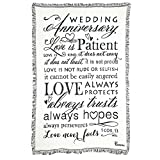 Dicksons Wedding Anniversary 1 Corinthians 13 White 48 x 68 All Cotton Tapestry Throw Blanket