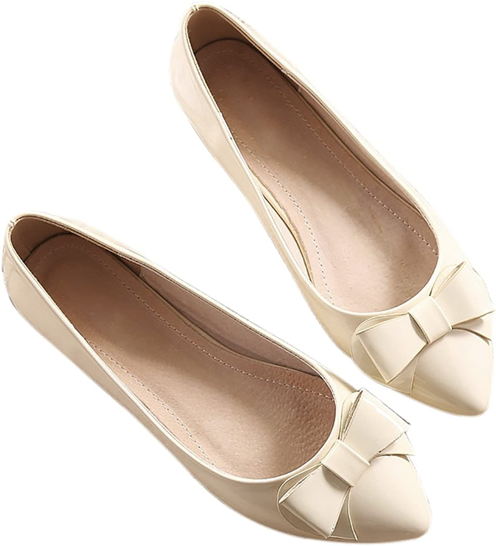 QZUnique Women's Pointed Toe PU Leather Ballet Slip On Boat Bowknot Flat shoes