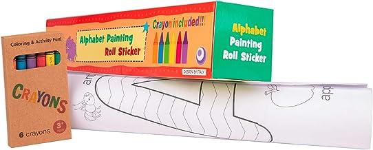 Rollo de papel con dibujos para pintar. Papel continuo adhesivo para niños con letras para colorear, ideal para manualidades infantiles. Regalo para niños (+3 años). Ceras de colores incluidas