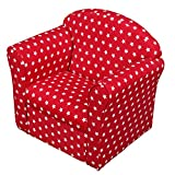 1home Fauteuil Sofa pour Bébé Enfant Rembourré Rouge, Blanc Star