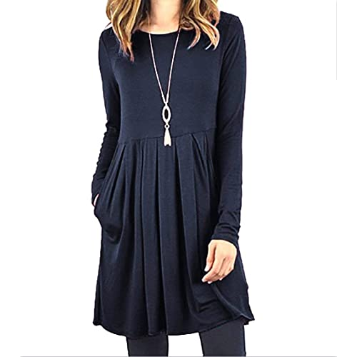 4deae0bd6287 Roselux Women's Long Sleeve Floral Print & Solid Casual Pleated Swing Loose  T- Shirt Dresses