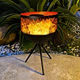 """Solar Table Lights Outdoor - Flickering Flame Lantern Waterproof 19""""Solar Tiki Deck Lamp with Base Solar Powered Light for Pathway Garden Patio Landscape Decor Camping Party(1 Pack Warm lights)"""