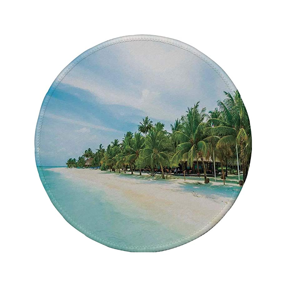 Non-Slip Rubber Round Mouse Pad,Ocean,Surreal Beach and Sea in Tropical Island with Coconut Palm Trees Ocean Exotic Lands,Turquoise Green,11.8