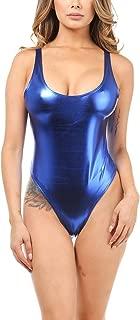 Karies Womens Sexy Backless Shiny Metallic Spandex and Racerback Fishnet Thong Bodysuit(NJ3353/NJ3206/NJ3068)