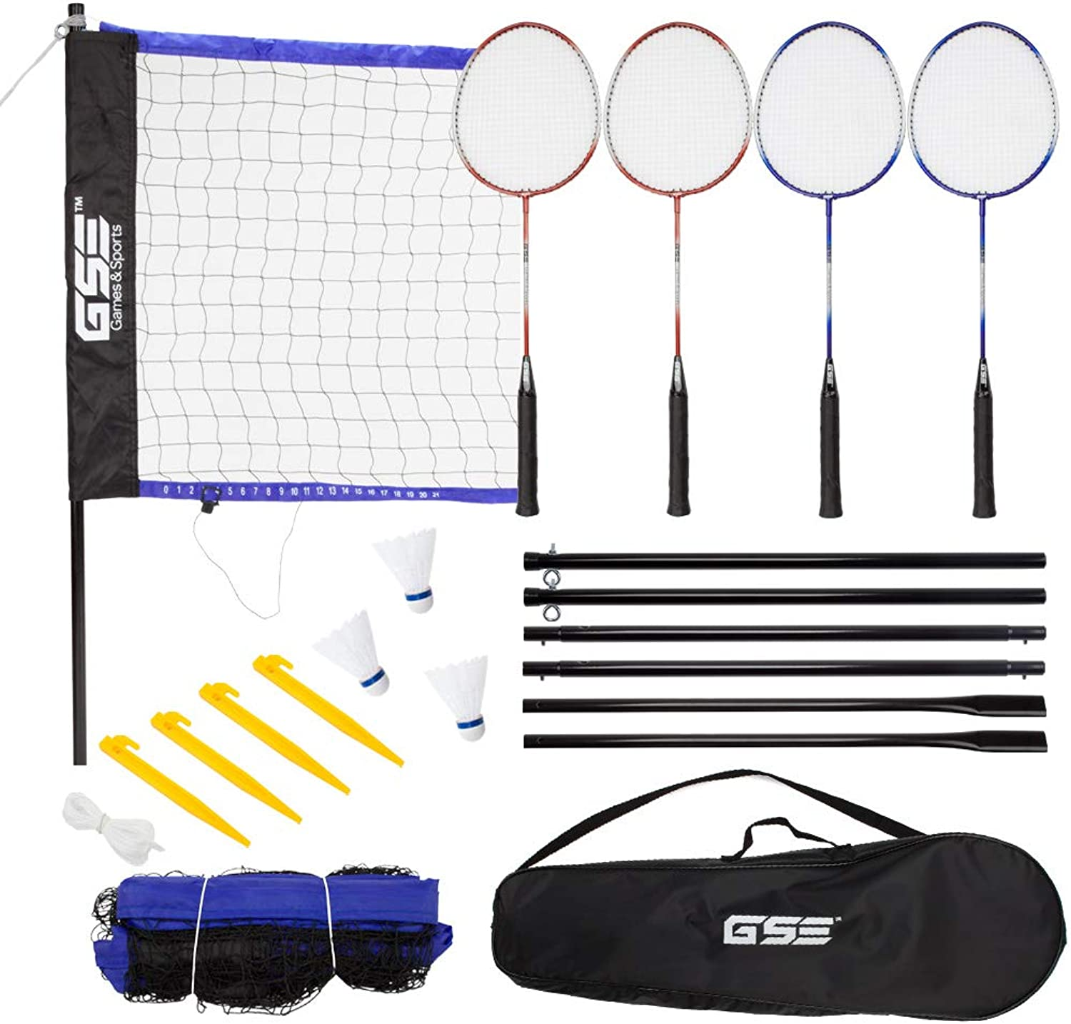 GSE Games & Sports Expert Deluxe Outdoor Backyard Beach Game Set (Badminton Volleyball)