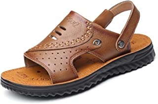 XIMINGJIA-O Men's Perforated Breathable Sandals, Beach Slippers, Leather Straps, Strong Non-Slip Shoes Men's Leather Shoes, Traditional Classic Design sh