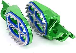 CNC MX Wide Foot Pegs Footpegs Foot Pedals Rests - Kawasaki KX250F 2006-2016 KX450F 2007-2017 KLX450R 2008-2013 - Green