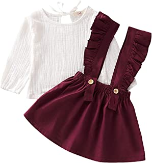 Kids Toddler Baby Girls Skirt Sets Long Sleeve Top + Ruffle Strap Suspender Dress Outfits Clothes
