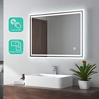 EMKE LED espejo de baño 80x60cm espejo de baño con iluminación frío blanco espejo iluminado espejo de pared con interruptor táctil IP44 ahorro de energía