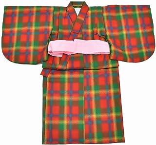 (着物ひととき) 女の子 冬物 ウール リサイクル着物 中古 着物 ちゃんちゃんこ 赤色系 チェック文様 kka9151b kimono