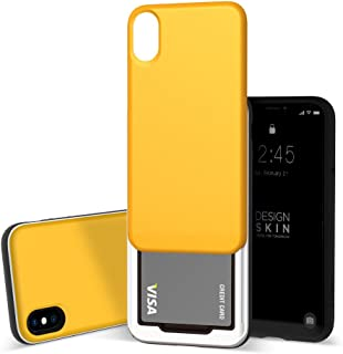 Design Skin iPhone X Sliding Card Holder Case, Extreme Heavy Duty Triple Layer Bumper Protection Wallet Cover with Storage Slot for Slider iPhoneX(Color) (Yellow/Black)