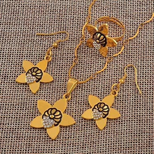 LBBYLFFF Collar Colgante, Collar, Pendientes, Anillo para Mujer, Papua Guinea, Color Dorado, joyería, Regalos, Longitud, Collar de 60 cm