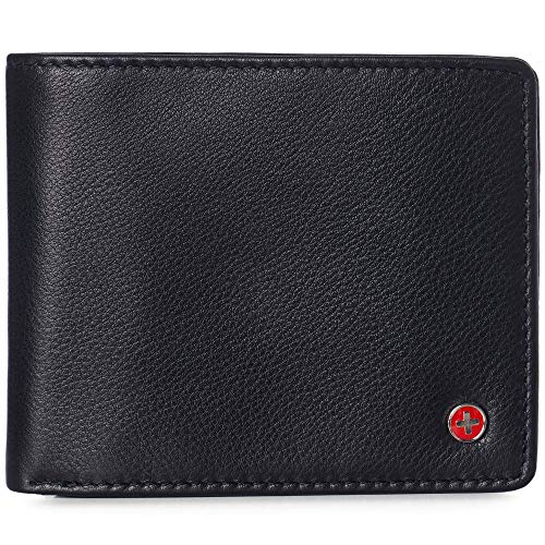 Alpine Swiss RFID Luka Men's Flip ID Wallet Deluxe Capacity ID Bifold With Divided Bill Section Camden Collection Soft Nappa Black