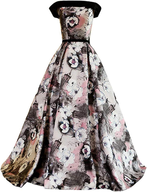 Drasawee Women's Elegant Off Shoulder Floral Printed Ball Gown Vintage Evening Party Dresses