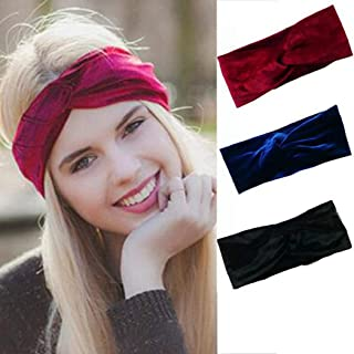 Brishow Retro Cross Headband Pure Colour Vintage Hairband Cloth Elastic Printed Head Wrap Scarf Stretchy Moisture Twisted Hair Accessories for Women and Girls (Pack of 3)