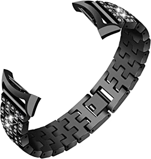 CLSY Compatible with Gear Fit 2 Watch Strap, Accessories Crystal Rhinestone Diamond Stainless Steel Metal Watch Bracelet Strap Replacement for Gear Fit 2 PRO SM-R360 & SM-R365 (Black)