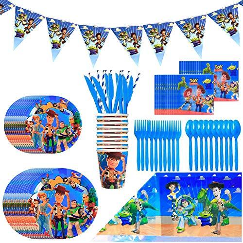 Toy Story Party Supplies Juego de Decoración, BESTZY 92 Piezas Suministros de Fiesta Toy Story para Cumpleaños de Niños Cartoon Anime Theme Artículos para Fiesta de Cumpleaños