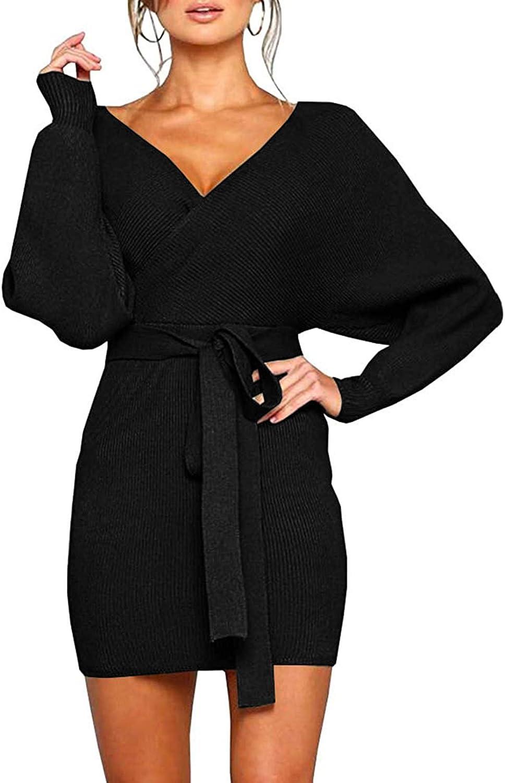 Cutiefox Women's Sexy Deep Discount mail order Seasonal Wrap Introduction V Neck Dress Sleeve B Sweater Batwing