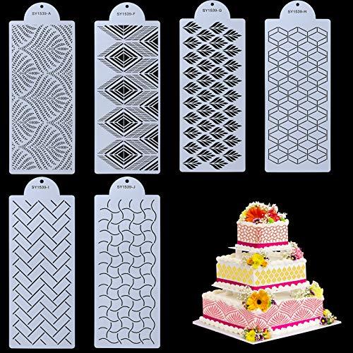 Selftek 6 Stück Torten Schablonen Kuchen Dekoration Schablonen Tortendeko mit 6 Verschiedenen Designs Geprägtes Kunststoff Zeichenvorlagen Dekorative Blumen Werkzeugen lebensmittelecht Strukturmatte