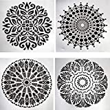 Deco Dream 4 Pcs Mixed Mandala Pattern Plastic Square Shape Stencils for Painting Craft/Art Journal/Decoupage/Mixed Media/Scrapbook DIY